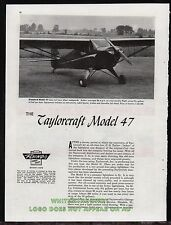 1947 TAYLORCRAFT Model 47 Aircraft Plane Airplane 4-page Evaluation Article