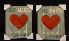 "Set of Two Framed Pictures ""Love Makes The World go Round """