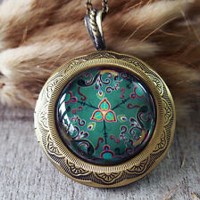 Chinese Phoenix Lotus Pattern Vintage Brass Picture Locket Pendant Necklace