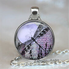 Vintage Dragonfly  Cabochon Silver plated Glass Chain Pendant Necklace @44