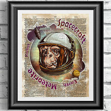Astronomy art print on antique dictionary book page Space Monkey animal decor