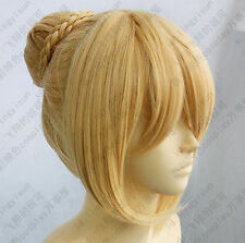 HOT~ Fate Stay Night Saber Cosplay Wig Gold color    &365