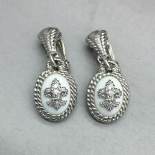 JUDITH RIPKA STERLING SILVER WHITE STONE CZ FLEUR DE LIS DROP EARRINGS  CLIP ON