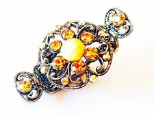 USA Hair Clip Use Swarovski Crystal Gem Pin Claw Metal Accessory Vintage Yellow