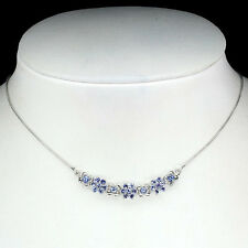 Sterling Silver 925 Natural Blue Violet Tanzante Gemstone Necklace 18 Inches