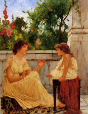 Art Oil painting oliver rhys - ancient pastimes young mother with girl in spring