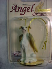 GREYHOUND white brown DOG ANGEL Ornament Pet Figurine Statue NEW Christmas puppy