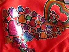 MEDIUM True Vtg 70s ONE OF A KIND GLITTERY HEART IRON ON LOVE HANES T-shirt USA