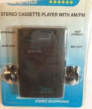 NIP Vintage Craig JH6222 Stereo Cassette Player with AM/FM Radio Headphones