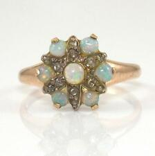 VTG Antique 14K Yellow Gold Natural Opal Rose Cut Diamond Cluster Ring Sz 5.5 QR