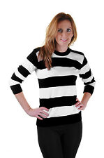 Top Wear Christmas Sweater Xms Casual Jumper White/ Black Stripe Knitted Jumpers
