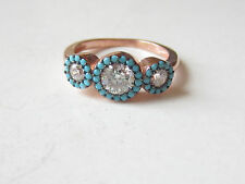 Unique Rose Gold Plated 925 Sterling Silver Turkish Turquoise Topaz Ring Sz 8