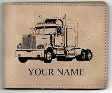 Western Star Truck Leather Billfold With Drawing & Your Name On It-Nice Quality
