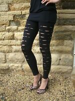 Top Quality Ripped Slashed Leggings BLACK  Size 8-22  Halloween