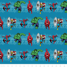 Camelot Marvel Comics Price & Hero Stripe in Teal 100% cotton Fabric by the yard