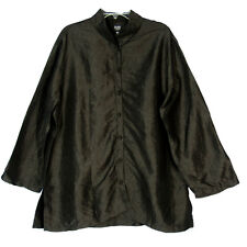 Eileen Fisher Women Size 1X Shirt Black Crinkle Textured Silk Knotted Buttons