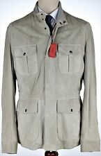 NWT 4000$ ISAIA suede FIELD JACKET sand leather Luxury Italy eu 52 us L