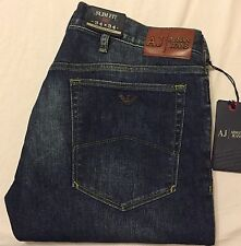 ARMANI JEANS J23 LOW SLIM FIT BUTTON FLY JEANS Men's - 34 X 34 (Dark) NWT $210
