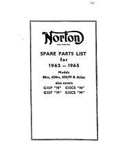 """Norton Parts Manual Book 1963, 1964 & 1965 G15P """"N"""" & G15CS """"N"""""""