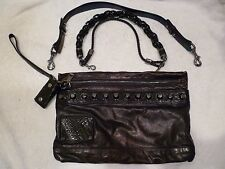 Rare Gucci Metallic Large Leather Studded Shoulder Bag Clutch purse