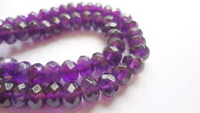 5x8mm Faceted Rondelle Natural Amethyst Gemstone Beads - Half Strand (44pcs)