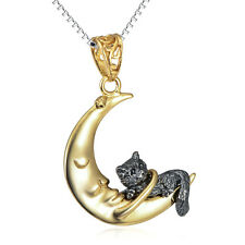 "925 Sterling Silver Gold Moon & Black Cat Necklace 18"" Charms Pendant Gift"