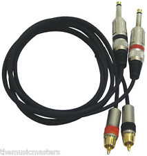 "5' ft Dual 1/4"" Plug to Dual RCA Plug Premium Audio Amp Mixer Cable Wire VWLTW"