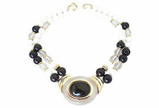 Vintage Signed Trifari Lucite Rhinestone Cabochon Runway Couture Collar Necklace