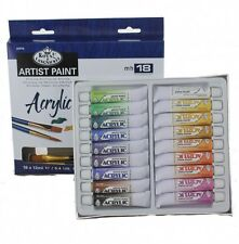 Acrylic Paint Tubes Set 18 Colors and 2 Paint Brushes