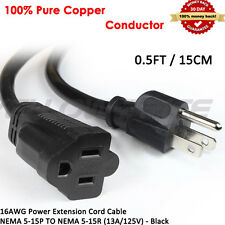 2Pack 0.5FT 15CM AWG Power Extension Cord Cable 13A 125V 3 prong,US Model Laptop