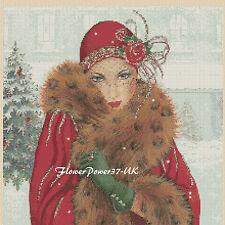 Gráfico de punto de Cruz Art Deco Dama 111-Navidad FLOWERPOWER 37-UK - FREE UK P &.
