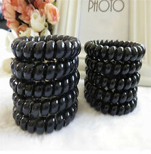 5X Black  Elastic Girl Rubber Telephone Wire Style Hair Ties&Plastic Rope (5cm)