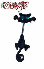14G Black Kitty Cat Belly Ring Aborable Blue And Black Gem