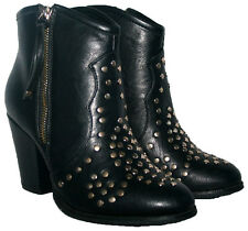 LADIES BLACK COWBOY BOOT STYLE ANKLE BOOT WITH STUD TRIM AND SIDE ZIP IN SIZE 5