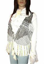 HAUST Women's Ladies White Studded Cotton Sleeveless Gilet Jacket sz XL 16 AL93