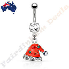 Jewelled Silver Ion Plated Belly Ring with Gemmed Christmas Santa Hat Dangle