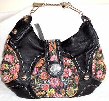 SHARIF BLACK LEATHER & SEQUIN COVERED FLOWER PRINT TEXTILE HOBO WITH CHAIN HANDL