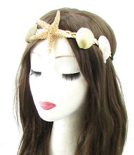 Real Starfish Sea Shell Headband Gold Cream Mermaid Fancy Dress Costume Boho 631