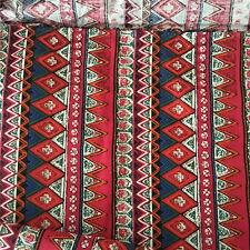 50x150cm Cotton Fabric Print Red Zigzag Line Ethnic Style DIY Home Deco 522-3 B#