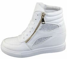 Womens Girls Diamante Wedge Heel Ankle High Top Trainers Sneakers Boots Shoes