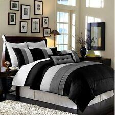 Queen Comforter Set Bedding Bedroom Black Grey White 8-Piece Luxury Stripe Bed