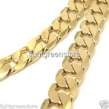 Men's Necklace 18K Yellow Gold Filled Solid Curb Link Cuban Chain 23.6 Inch 10mm