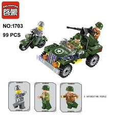 Enlighten 1703 Military Army Motorcycle Car Building Block Toy lego Compatible