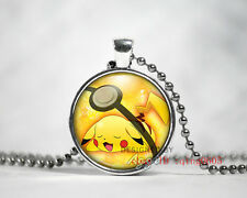 New 1pcs Pikachu Pendant Pokemon Pokeball Glass Necklace