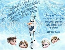 Disney Frozen Anna Elsa Olaf Birthday Party Invitations 8 pk Personalized