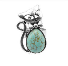 New Arrival Fashion Popular Antique Silver Turquoise Kitten Ring Adjustable