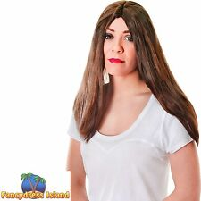 "60's HIPPY LONG BROWN 18"" GLAMOUR WIG Ladies Womens Fancy Dress Costume"