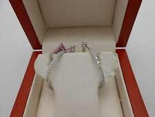 $2850 Gorgeous New 14k Solid White Gold Inside & Outside Diamond Hoop Earrings
