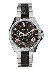 New Women's Fossil Cecile Stainless Steel Dark Pearl Acetate Watch AM4632
