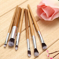 Awesome 6Pcs Bamboo Handle Brushes Set Eye Shadow Brush Makeup Cosmetic Tool